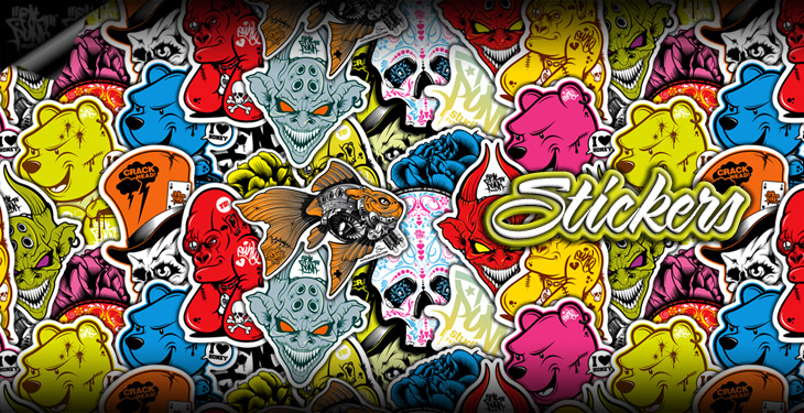 Fat Punk Studio sticker sets come in a wide variety of colours. Their durable finish means they can be used for both interior and exterior application. The new range includes Winnie the Pooh, Baby Gorilla, Goldfish, Sugar Skull, Logo and Hatter stickers.