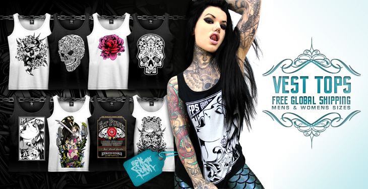 Unique custom fat punk studio vest tops/singlets in both mens and womens sizes. Free worldwide shipping on all orders