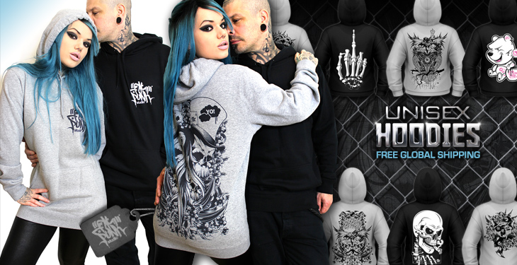 Unique, custom, hand printed fat punk studio hoodies in stylish unisex sizes. Free worldwide shipping on all orders