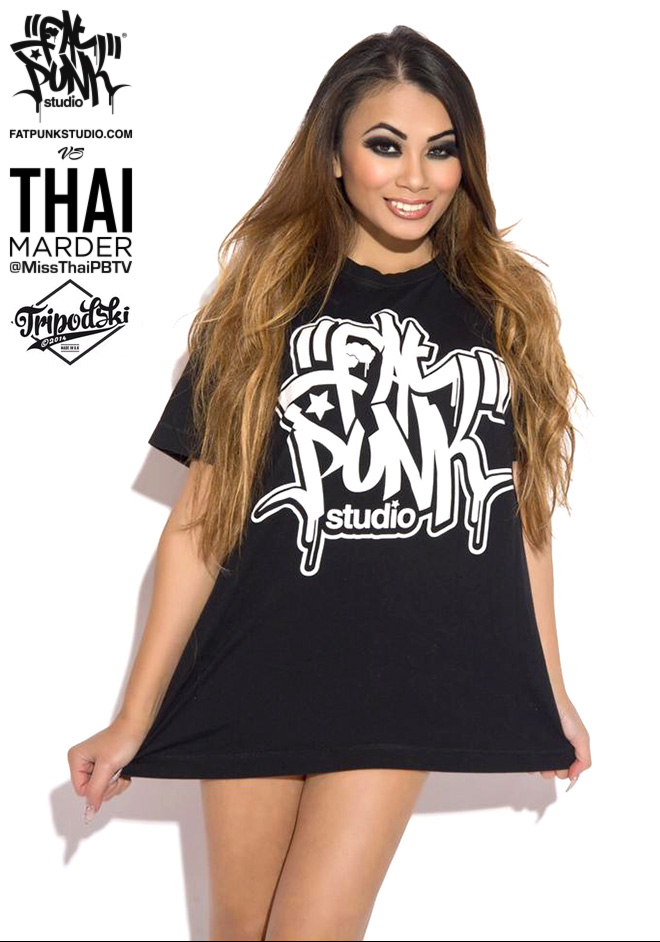 model and playboy tv presenter thai marder rocks her fat punk studio t-shirt