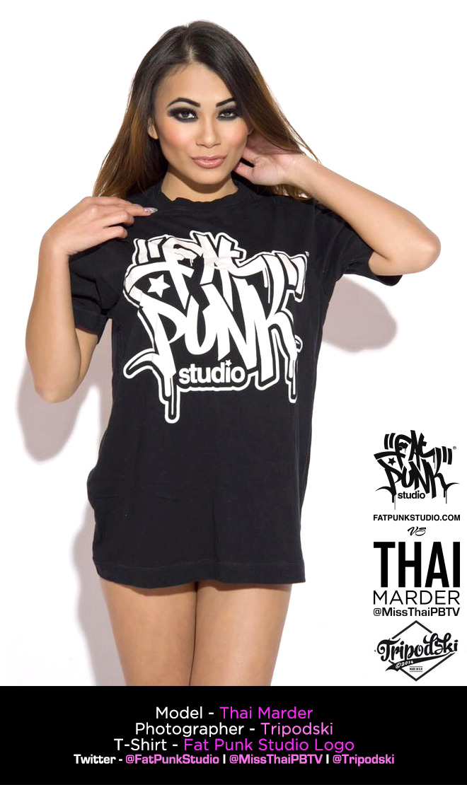 model and playboy tv presenter thai marder rocks her fat punk studio logo t-shirt
