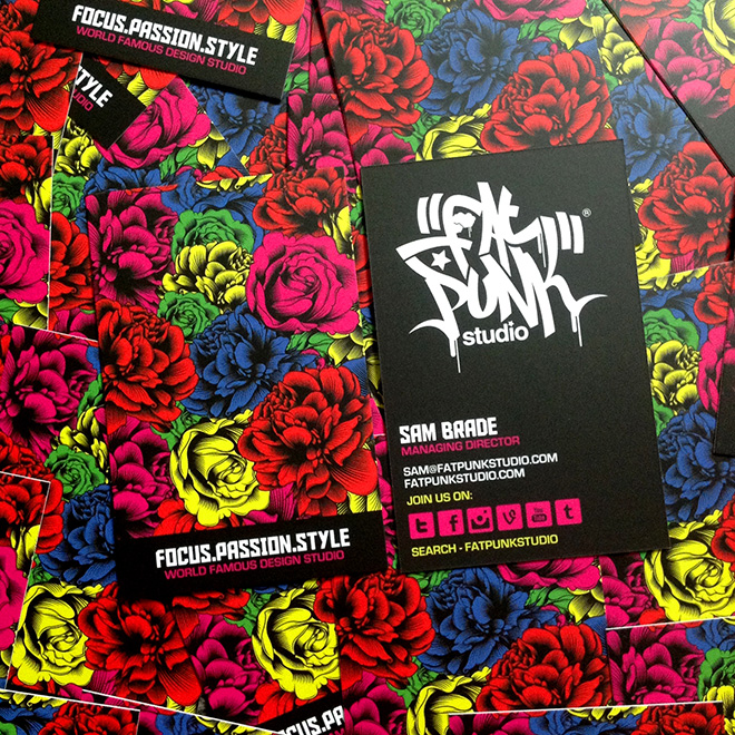 new fat punk studio flowers business cards