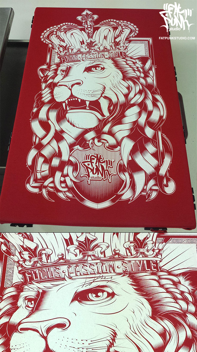 "Stunning Fat Punk Studio special edition red ""Lion"" vest top"