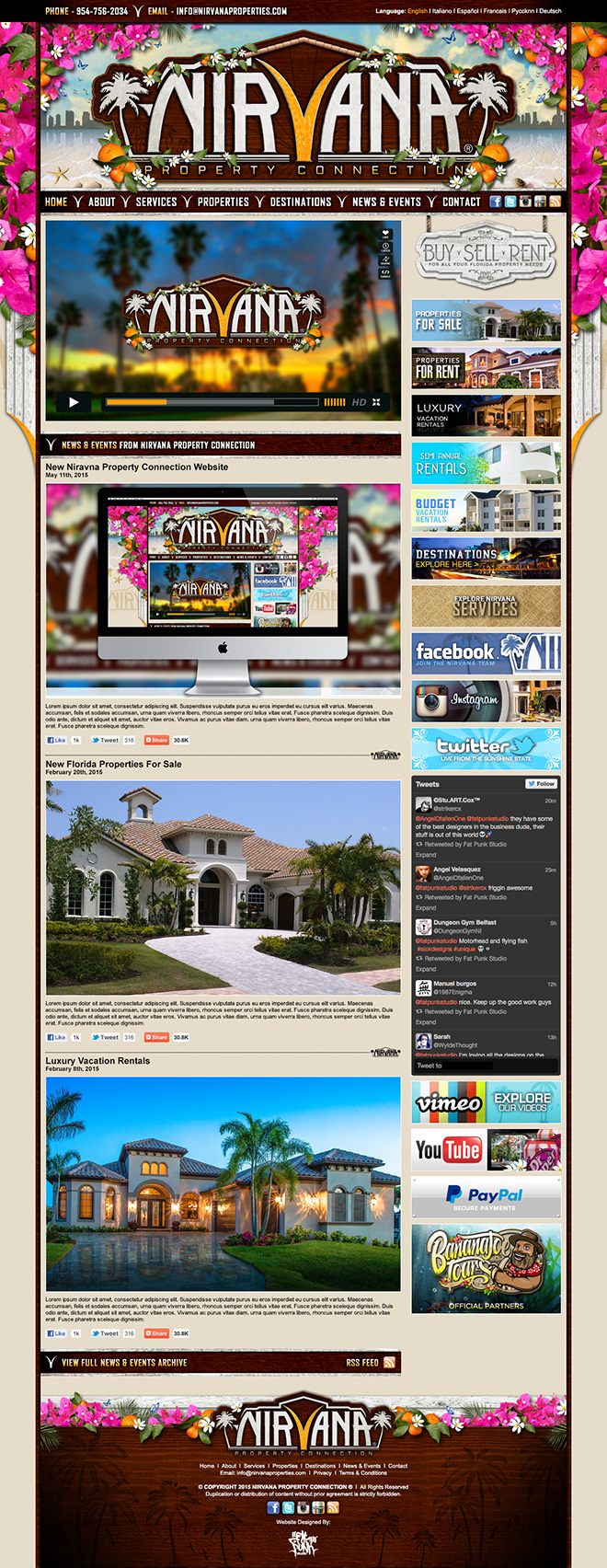 Beautiful bespoke website design for our new florida client nirvana property connection