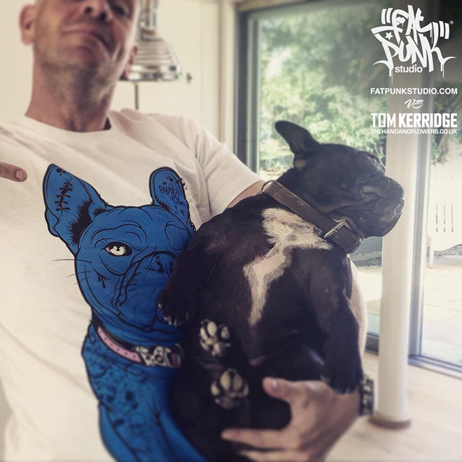 "Inky - Fat Punk Studio designed French Bulldog T-shirt for 2 Michelin starred chef and TV presenter Tom Kerridge from the ""Hand and Flowers"" and ""The Coach"" Marlow"