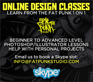 Online design classes with Fat Punk Studio. Learn 1 on 1 with the Fat Punk via Skype. Beginner to advanced level welcome. Photoshop/Illustrator lessons. Help with personal design projects.