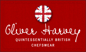 Oliver Harvey Chefs Wear in collaboration with Fat Punk Studio.  These professional chefs aprons come in black/grey denim with leather detailing and a badass Fat Punk Studio embroidered design