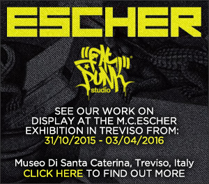 See Fat Punk Studio's work on display at the M.C.Escher exhibtion at the Museo Di Santa Caterina, Teviso, Italy