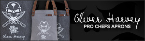 Oliver Harvey vs Fat Punk Studio professional chefs apron on durable black and grey denim. Featuring a unique embroidered design this badass apron comes with gorgeous detachable leather straps.