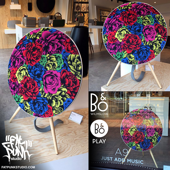"Our Beoplay A9 ""Flowers"" speaker takes pride of place in the stunning Bang & Olufsen of Wilmslow store. Customise your A9 with some badass art."