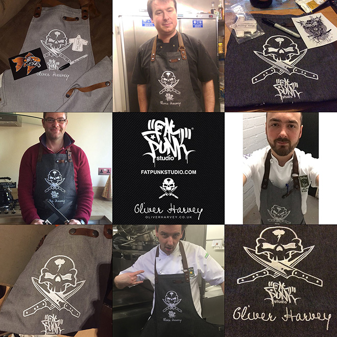 Check out these great pics by customers of their new Fat Punk Studio vs Oliver Harvey aprons.