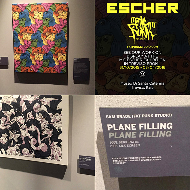 Fat Punk Studio artwork on display at the M.C.Escher exhibition in Treviso, Italy