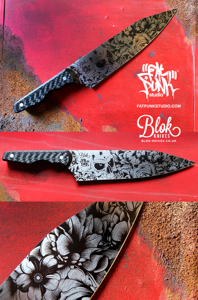 Blok Knives vs Fat Punk Studio ultimate chefs knife. Carbon Punk features a stunning engraved blade and twill weave carbon fibre handle.