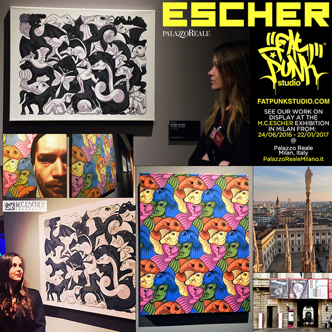 Fat Punk Studio art at the Milan Escher exhibition at the Palazzo Reale, Italy