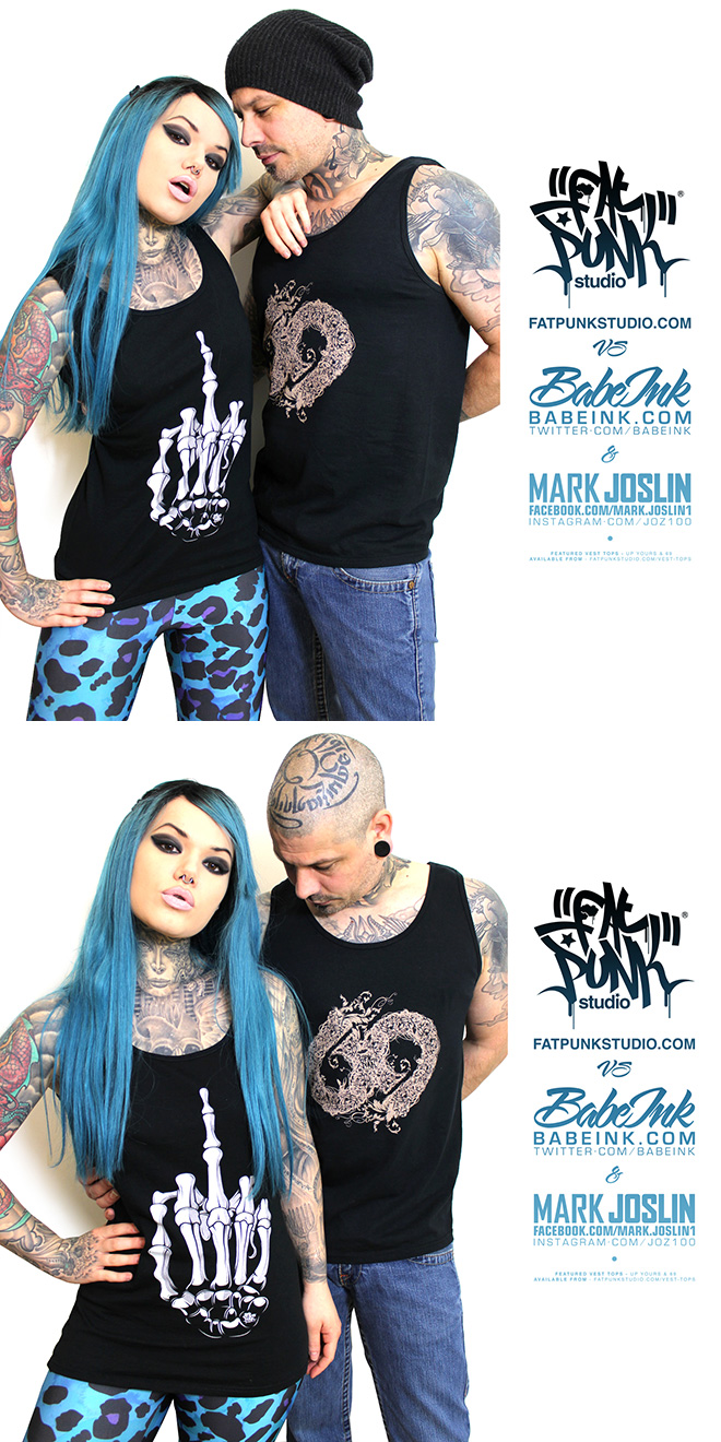 alt model babe ink and tattoo artist mark joslin rock their fat punk studio up yours and 69 vest tops