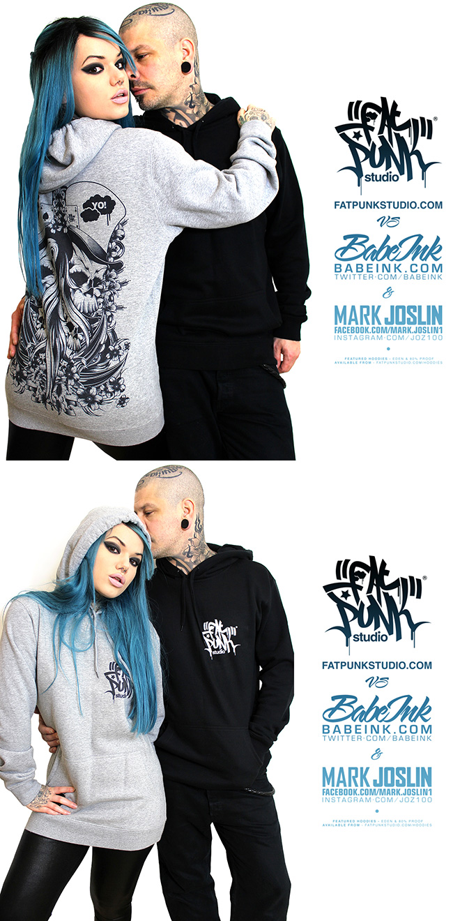 alt model babe ink and tattoo artist mark joslin rock their fat punk studio eden and 80% proof hoodies