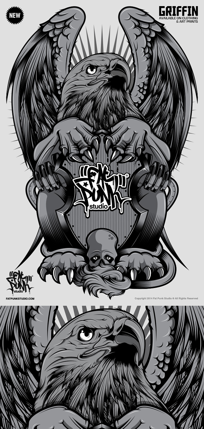 Fat Punk Studio Griffin art now available in store on signed artwork and clothing
