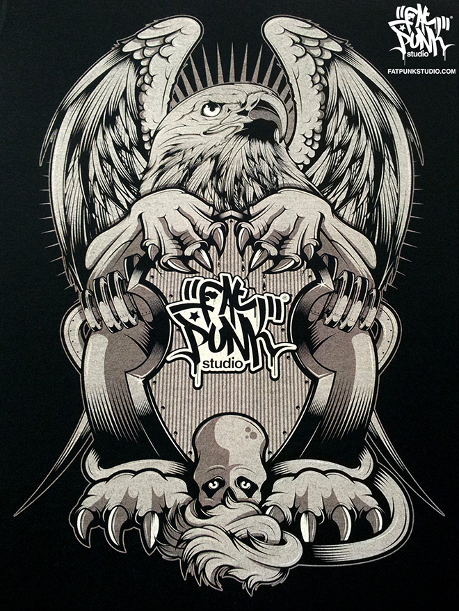 Fat Punk Studio Griffin clothing goes to print. Available on T-shirts, Vest Tops and Hoodies