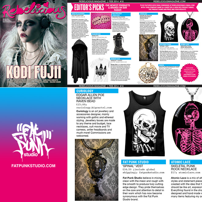 Fat Punk Studio Spinal vest top featured in this month issue of Rebellious Magazine