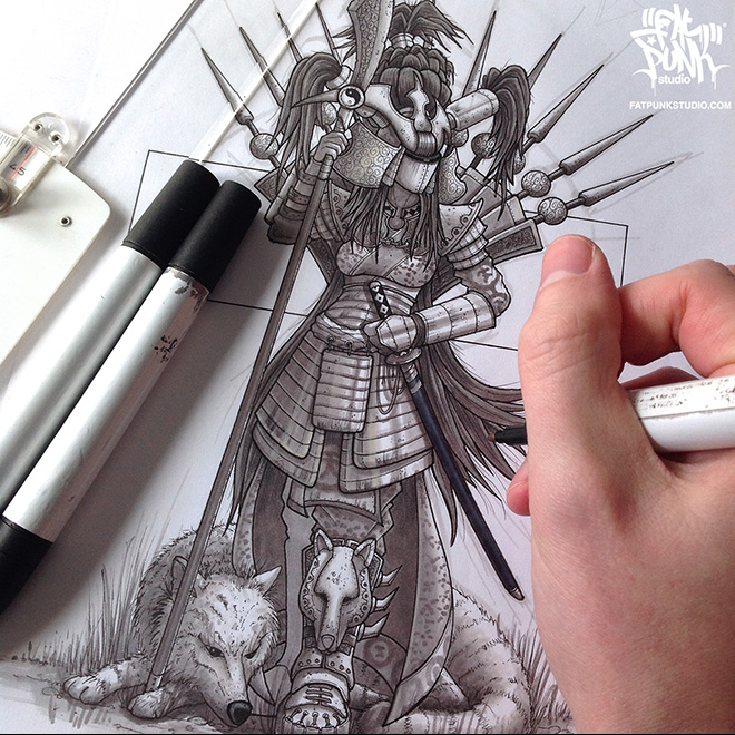 Fat Punk Studio Wolf Guard marker sketch art now available on signed artwork and clothing