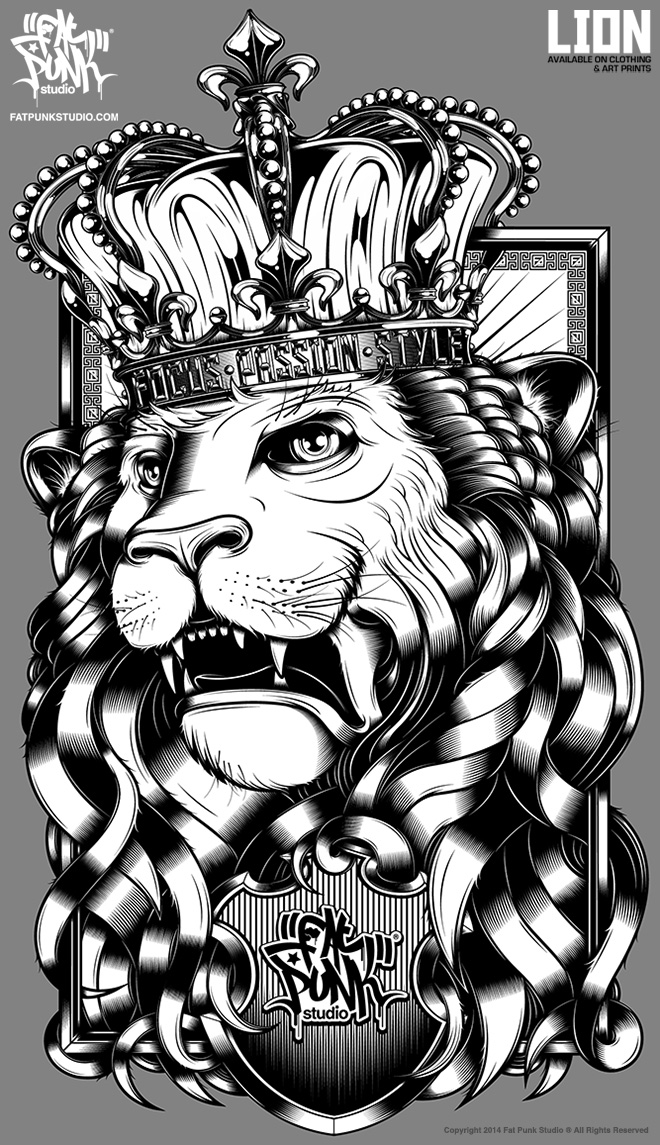 Fat Punk Studio Lion artwork lands in store on clothing and signed art.