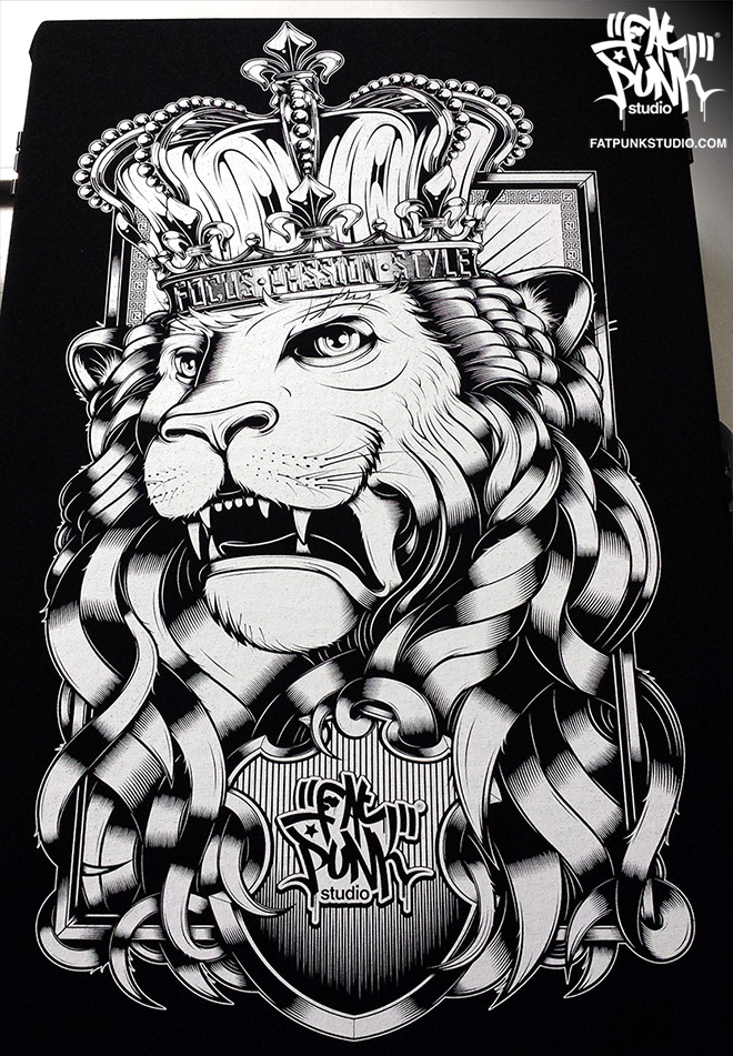 Fat Punk Studio Lion t-shirt in royal black and white. Crown your wardrobe with this beautiful kingly graphic shirt