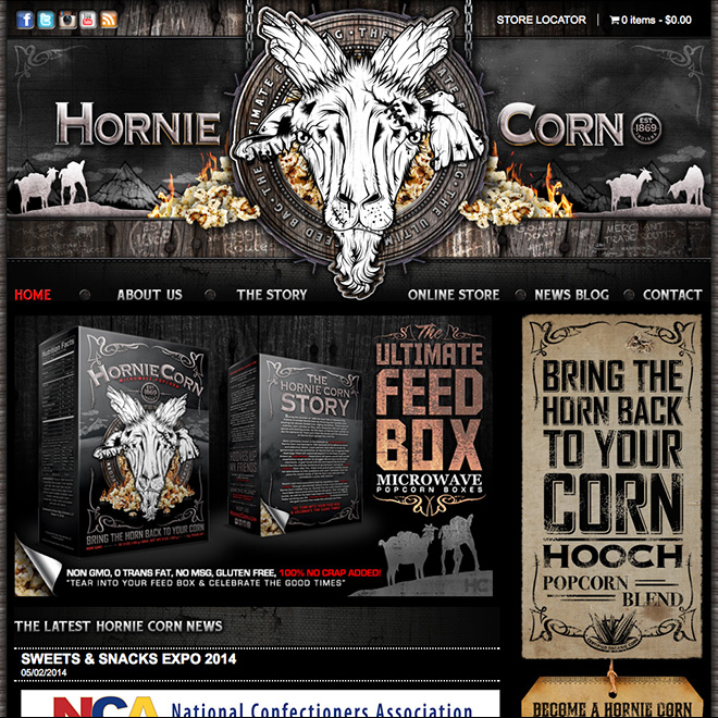 We just wrapped work on the new online store for Hornie Corn Popcorn.