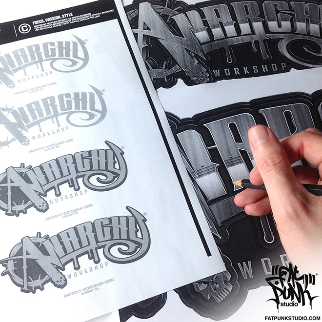 Custom logo development for anarchy workshop (custom grafix) Australia