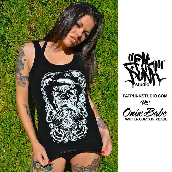 alt model and pornstar onix babe rocks her fat punk studio love and hate vest top
