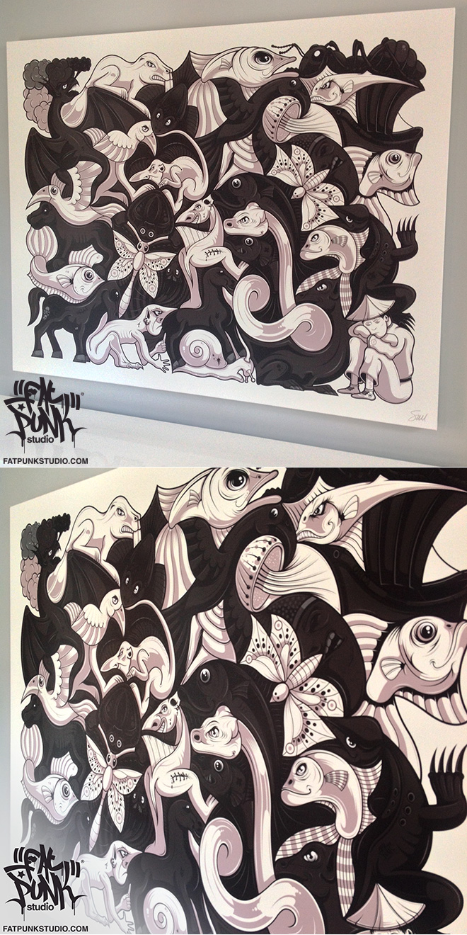 "Fat Punk Studio (Sam Brade) ""Plane Filling"" canvas art featuring 34 black and white motifs. As seen at the MC Escher exhibition Bologna, Italy"