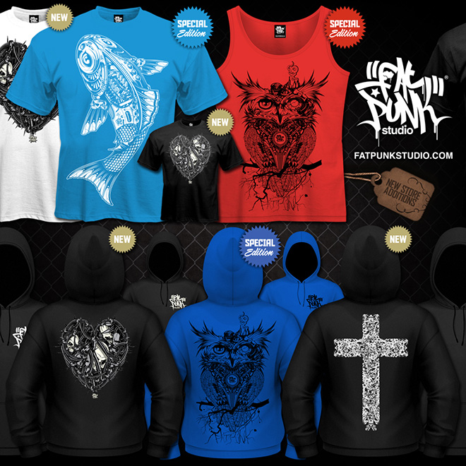 new fat punk studio clothing (t-shirts, vest tops and hoodies) lands in store