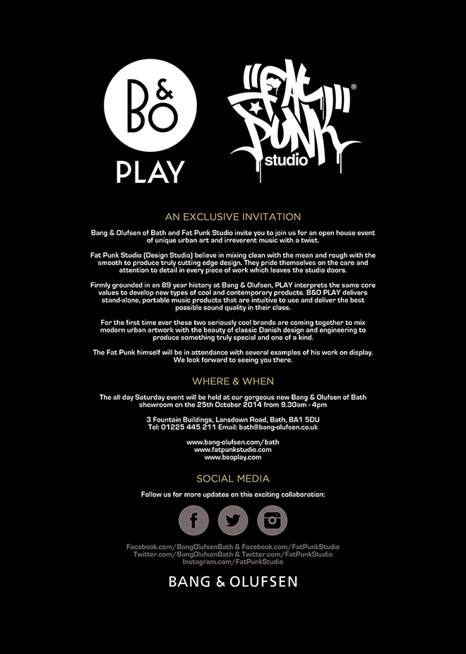 Bang olufsen exclusive event fat punk studio an exclusive invitation stopboris Image collections