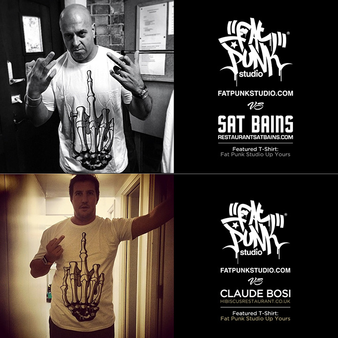 2 michelin star chefs sat bains and claude bosi rock their fat punk studio up yours t-shirt
