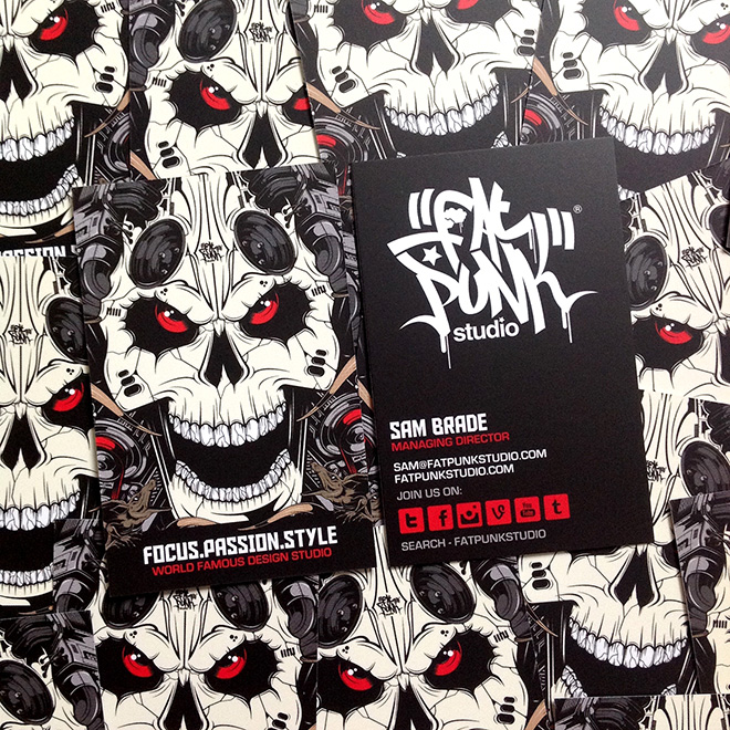 new fat punk studio skull business cards