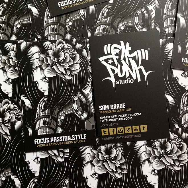 new fat punk studio angel business cards