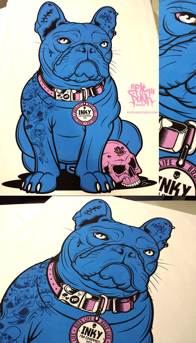 "Inky - Fat Punk Studio designed French Bulldog birthday illustration for 2 Michelin starred chef and TV presenter Tom Kerridge from the ""Hand and Flowers"" and ""The Coach"" Marlow"