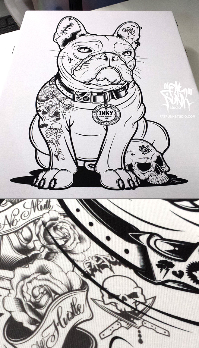 """Inky - Fat Punk Studio designed French Bulldog birthday illustration for 2 Michelin starred chef and TV presenter Tom Kerridge from the """"Hand and Flowers"""" and """"The Coach"""" Marlow"""