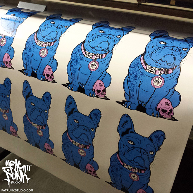 "Fat Punk Studio designed ""Inky"" the French Bulldog sticker for 2 Michelin starred chef and TV presenter Tom Kerridge from the ""Hand and Flowers"" and ""The Coach"" Marlow"
