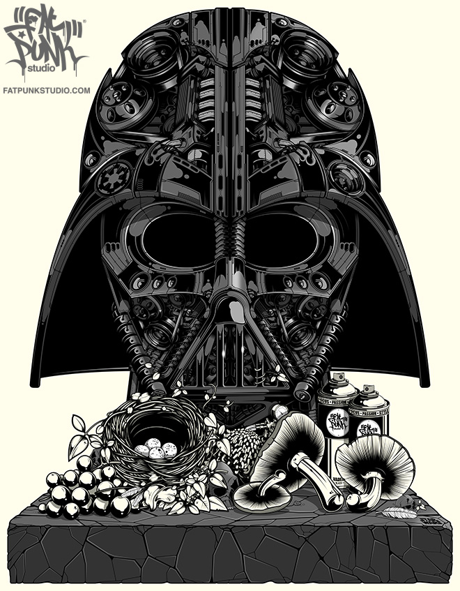 """The art of Star Wars comes to Fat Punk Studio with our new """"Vader Still Life"""" artwork. Darth Vader is available on T-shirts, vest tops, hoodies, canvases and signed paper prints so why not journey to the dark side and bag yours today."""