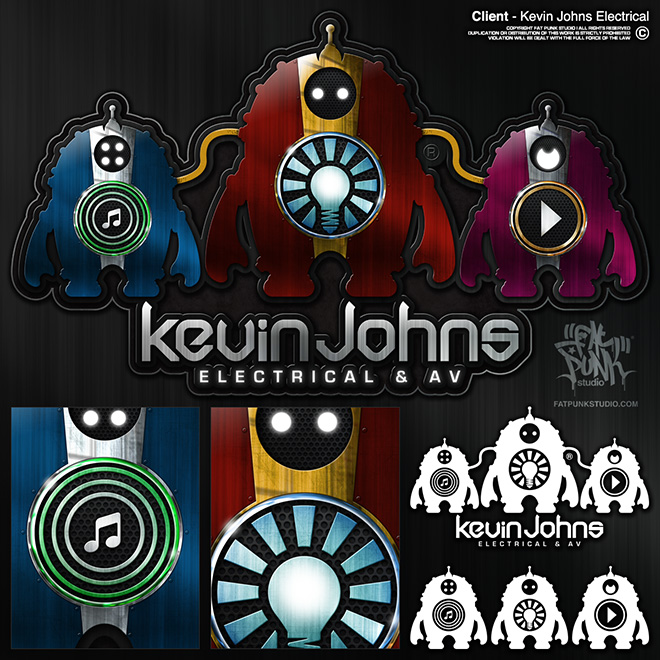 Custom logo development for kevin johns electrical & av