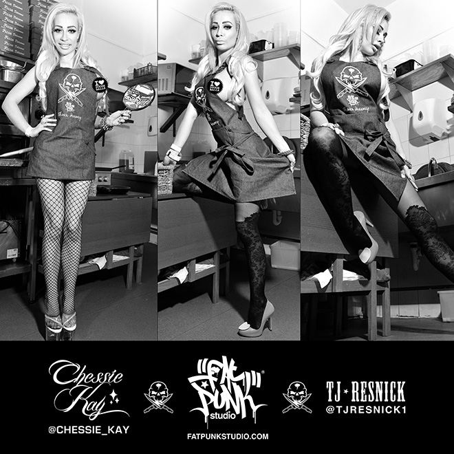 Stunning UK pornstar and model Chessie Kay rocks her Fat Punk Studio vs Oliver Harvey professional chefs apron.