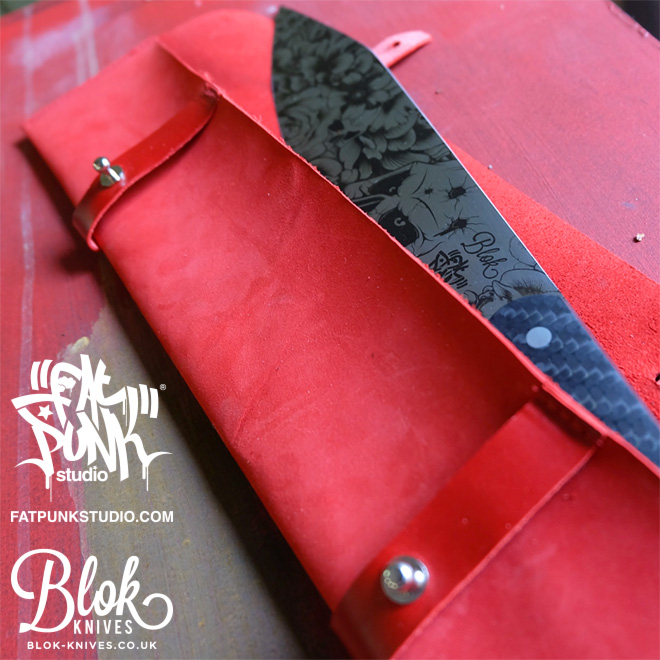 Blok Knives vs Fat Punk Studio ultimate chefs knife. Carbon Punk features a stunning engraved blade and twill weave carbon fibre handle. The presentation pouch is hand crafted from red nubuck and leather.