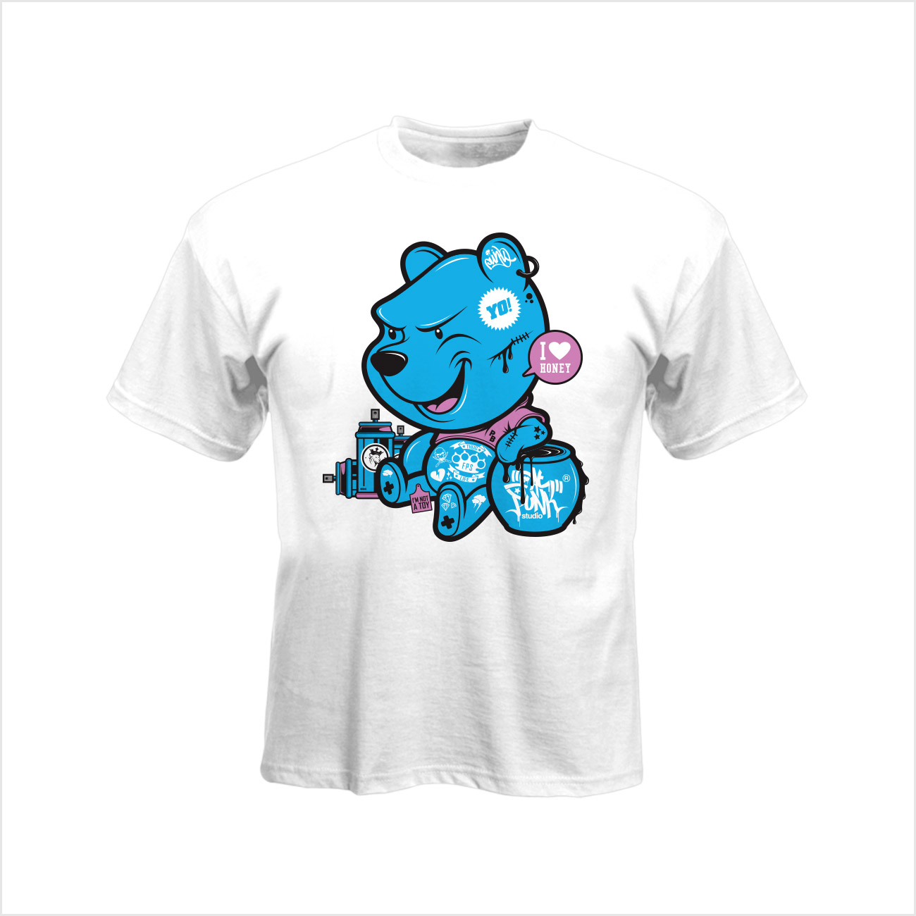 Pooh Bear Thug Life T-shirt in white - Fat Punk Studio 9003c9620